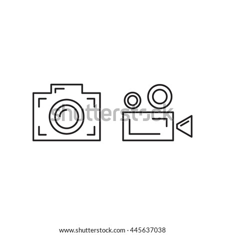 Photo and video camera. Vector flat outline icon design illustration on white background. - stock vector