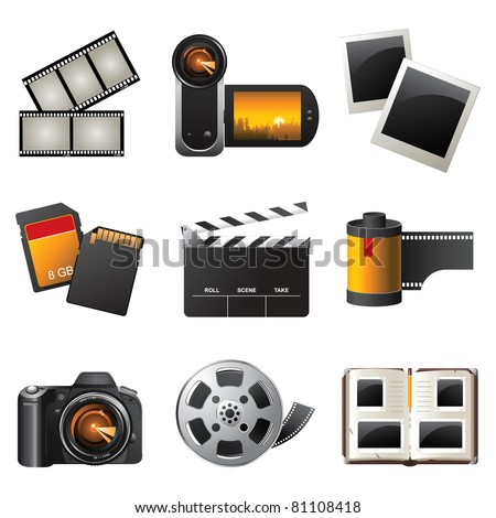 Photo and video icons set - vector - stock vector