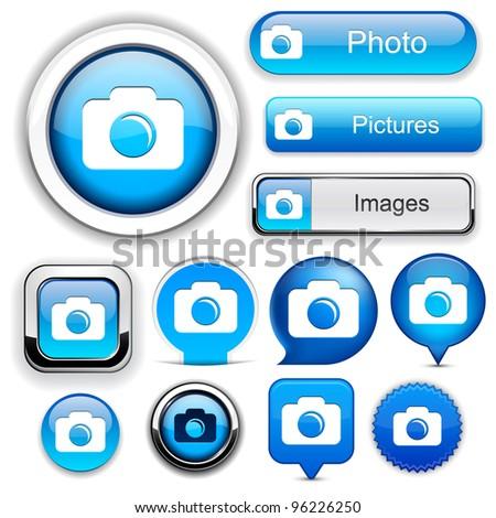 Photo blue design elements for website or app. Vector eps10. - stock vector