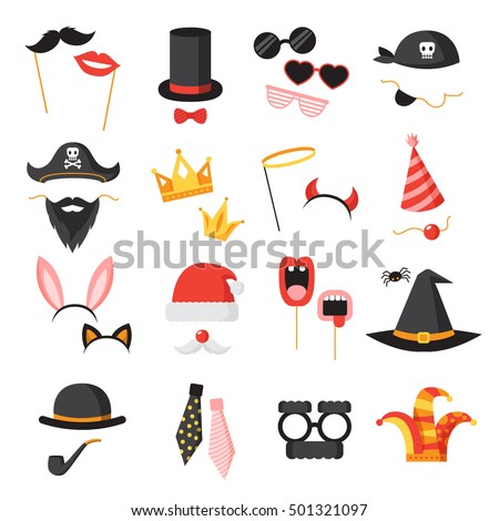 Photo booth party icons set with ears beard and glasses flat isolated vector illustration