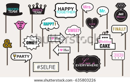 Photo Booth Props Weddings Party Featuring Stock Vector 635803226 ...