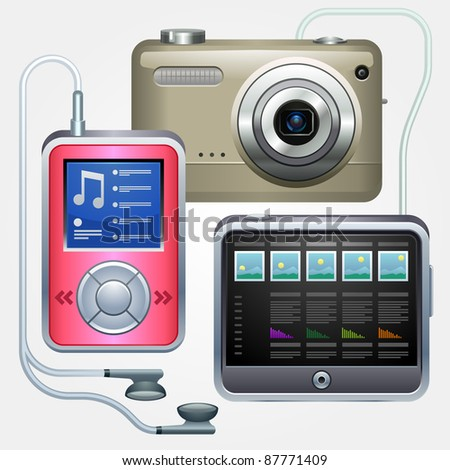 Photo cam, player and tablet.  Multimedia devices. Global computer networks - stock vector