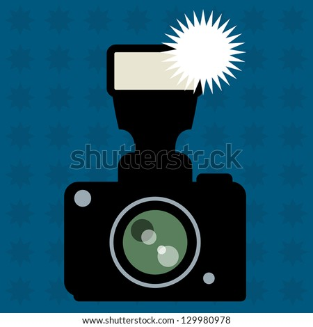 Photo Camera and flash abstract, vector illustration - stock vector