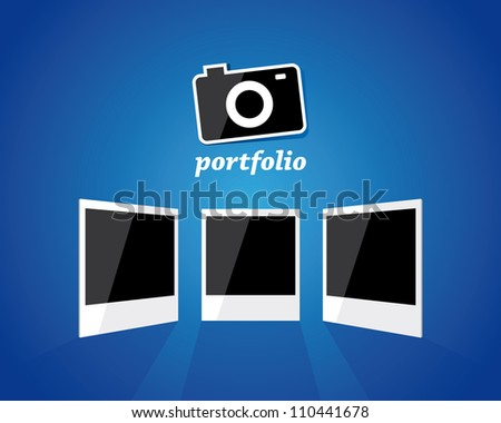 Photo camera and three photo frames for your portfolio. Vector illustration - stock vector