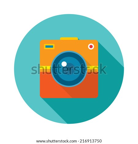 Photo Camera Creative Illustration. Vector icon in flat style design.  - stock vector