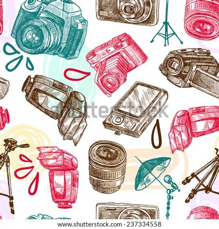 Photo camera digital technology studio equipment hand drawn seamless pattern vector illustration - stock vector