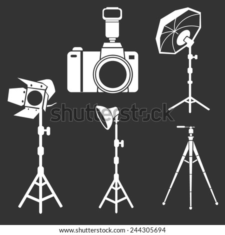 photo camera flash tripods studio equipment vector set - stock vector
