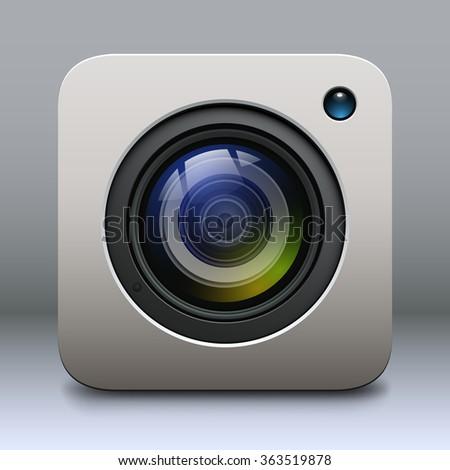 Photo camera icon, lens vector design. - stock vector