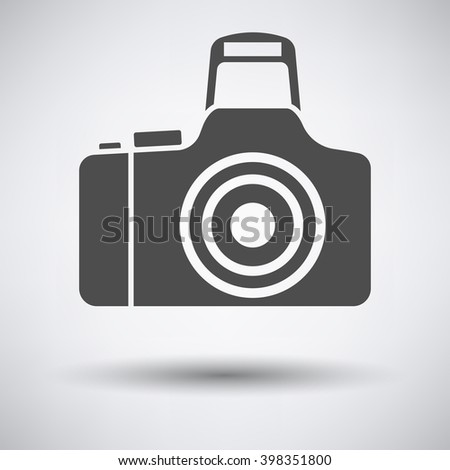 Photo camera icon on gray background with round shadow. Vector illustration. - stock vector