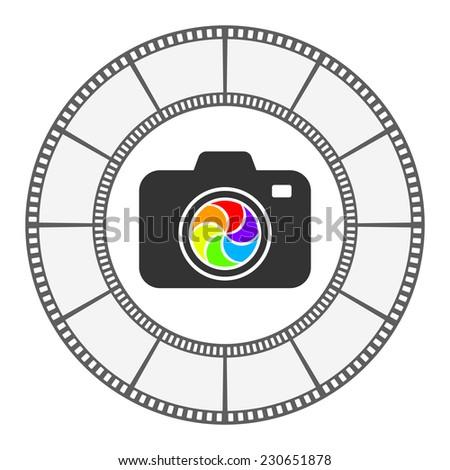 photo camera icon round frame vector design - stock vector