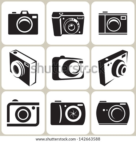 photo camera icon set - stock vector