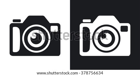 Photo camera icon, stock vector. Two-tone version on black and white background - stock vector