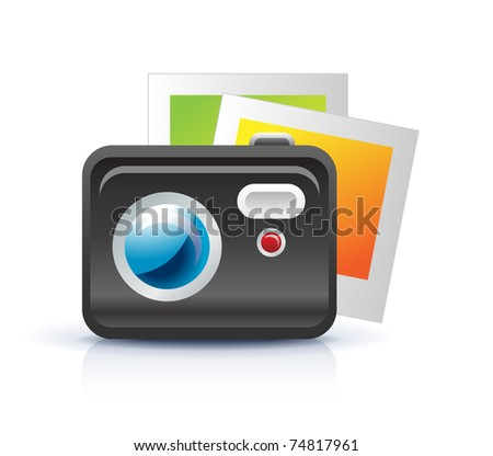 photo camera icon with photo frames - stock vector