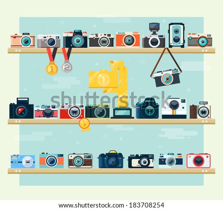 Photo camera icons set on the shelf in flat style. Flat design vector stylish illustration in modern colors. Isolated on stylish background. - stock vector