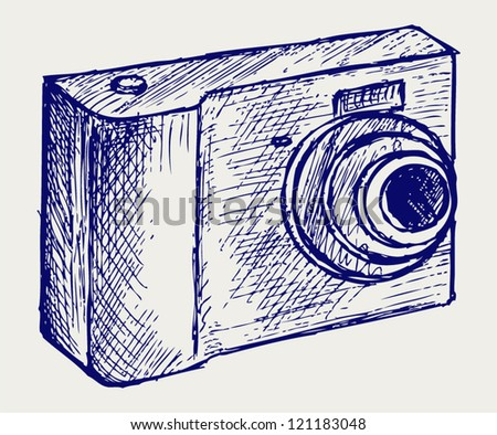 Photo camera illustration. Doodle style - stock vector