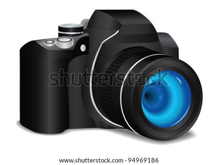 Photo camera in vector - stock vector