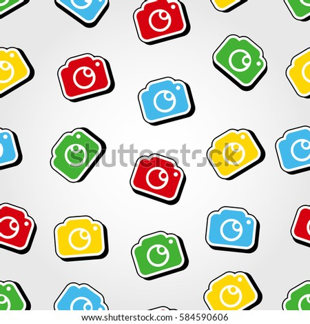Photo Camera Pattern Background In Pop Art Style