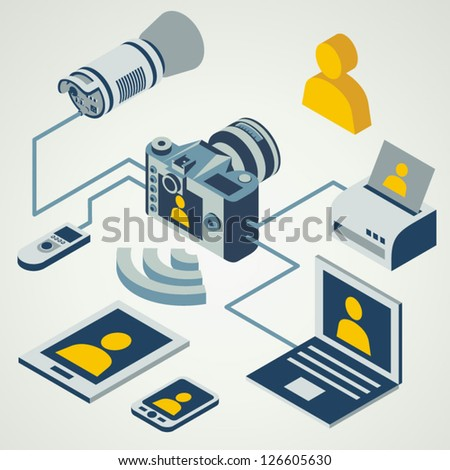 photo camera professional flash working connect / eps8 - stock vector