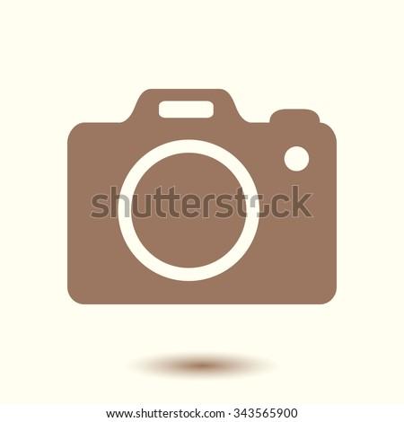 Photo camera simbol. DSLR camera sign icon. Digital camera. Flat design style.  - stock vector