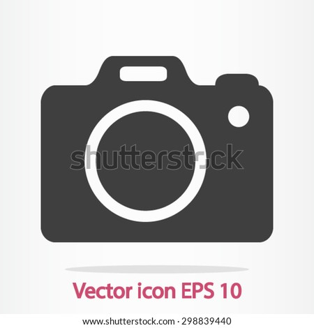 Photo camera symbol. DSLR camera sign icon. Digital camera. Flat design style.  - stock vector
