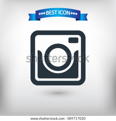 Photo camera vector eps 10 and jpg. Flat style Photo camera icon for web sites. Photo camera icon on a gray background.  - stock vector