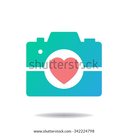 photo camera with heart lens - stock vector