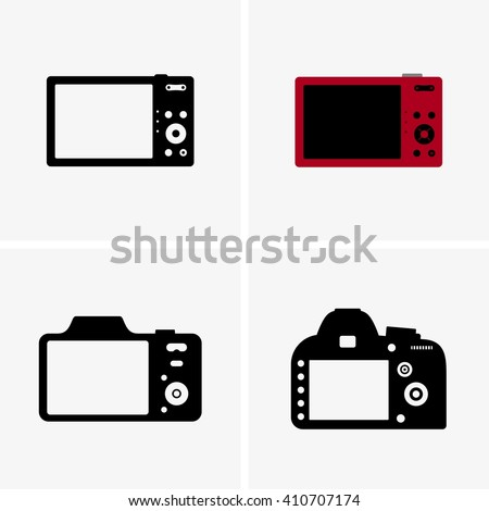 Photo cameras' back view - stock vector
