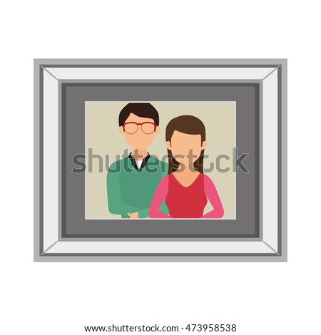 Photo cards with family couple portrait photography vector illustration