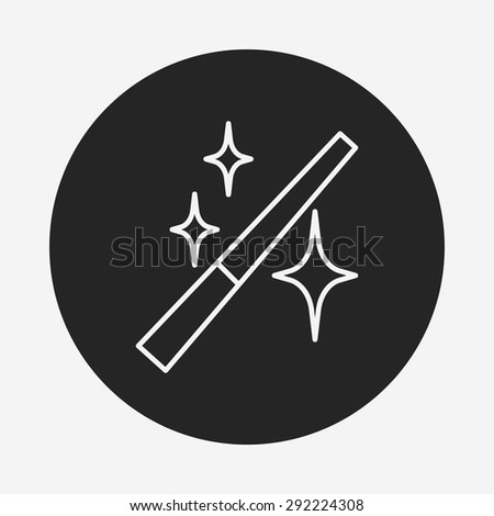 photo edit effects magic wand line icon - stock vector