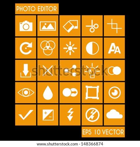 Photo Editor Icon Set - stock vector