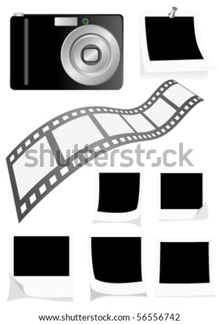 Photo elements isolated on white background - stock vector