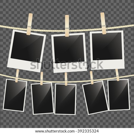 Photo empty frames on rope with wooden clothespins on transparent background. vector - stock vector