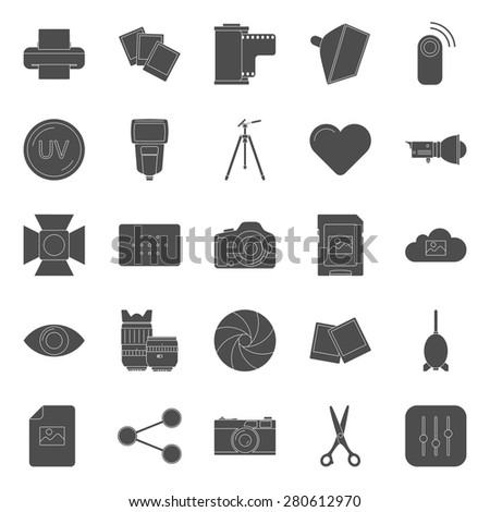 Photo equipment end editing silhouettes icons set  vector graphic illustration design - stock vector