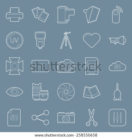 Photo equipment end editing thin lines icons set  vector graphic illustration design - stock vector
