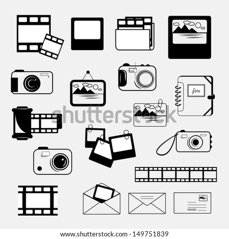 Photo Frame Film Strip Camera Icons Stock Vector 149751839 ...