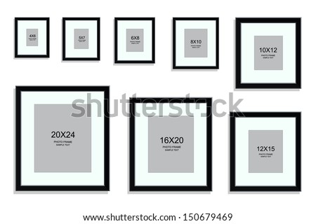 photo frame standard picture size area stock vector 150679469 shutterstock. Black Bedroom Furniture Sets. Home Design Ideas
