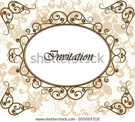 Photo frame invitation with floral ornaments background. Vector - stock vector