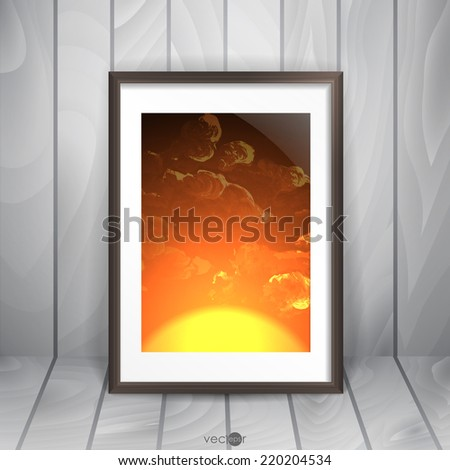 Photo Frame On The Wall. Vector Illustration. Eps 10. - stock vector