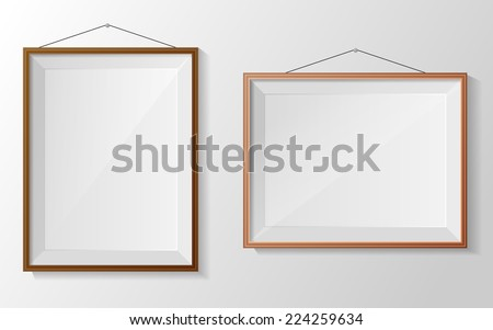 Photo frame on white wall. Vector - stock vector