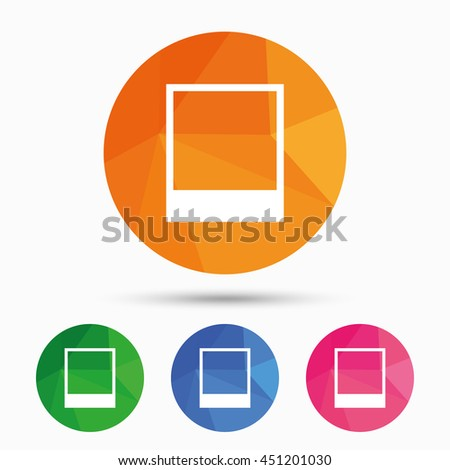 Photo frame template sign icon. Empty photography symbol. Triangular low poly button with flat icon. Vector