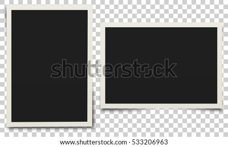 photo frame white plastic border on a transparent background vector illustration