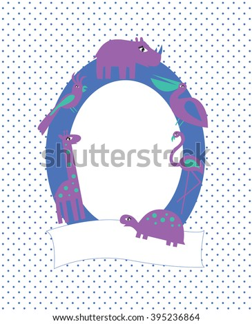 Photo frame with african animals and birds: giraffe, turtle, pelican, rhino, parrot, flamingo - stock vector
