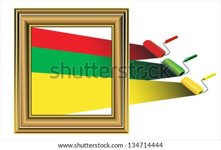 Photo frame with artist's tools isolated on white - stock vector