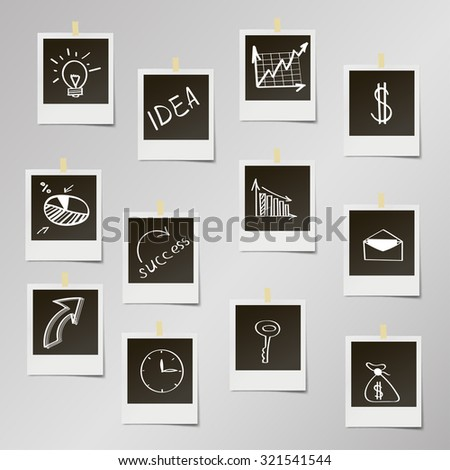 Photo frame with drawing concepts in flat design for web - stock vector