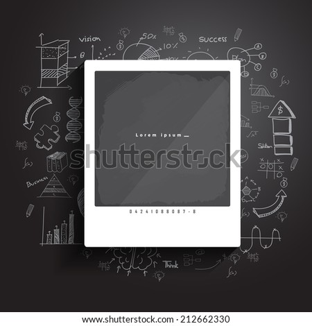 Photo frame with drawing concepts in flat design for web, mobile applications, seo optimizations, business, social networks, e-commerce,planning and teamwork - stock vector