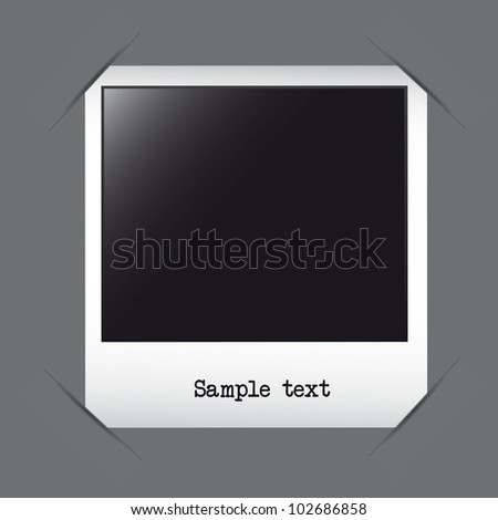 photo frame with sample text over gray background. vector - stock vector