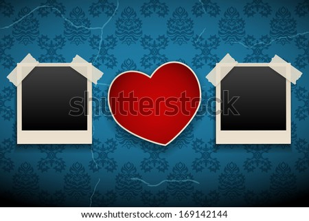 Photo Frames And Heart - stock vector