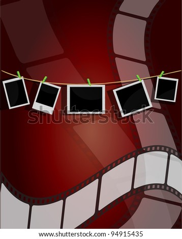 photo frames background with film strip - stock vector