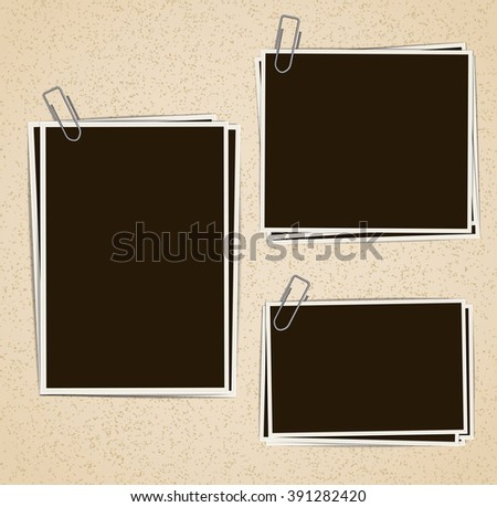 Photo frames composition with clips on retro background. Vector design template - stock vector