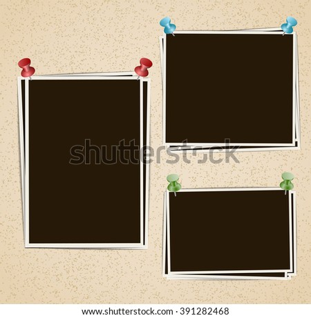 Photo frames composition with pushpins on retro background. Vector design template - stock vector